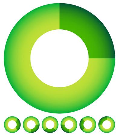 Vector Illustration of Circular preloader, buffer shapes, symbols UI element. Or Generic progress indicator of completion, steps and phases. (set at 7 angle)