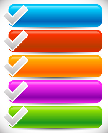 validated: Vector illustration of blank buttons in vibrant colors with check marks, ticks Illustration