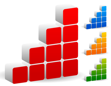 blue 3d blocks: Vector illustration of a blocky bar chart, bar graph or building bricks icon. Different colors included. Illustration