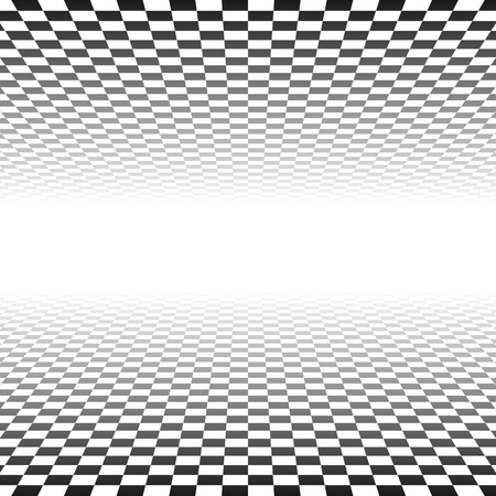 surrealistic: Vector illustration of fading checkered planes on white in perspective. Transparency made with opacity mask.