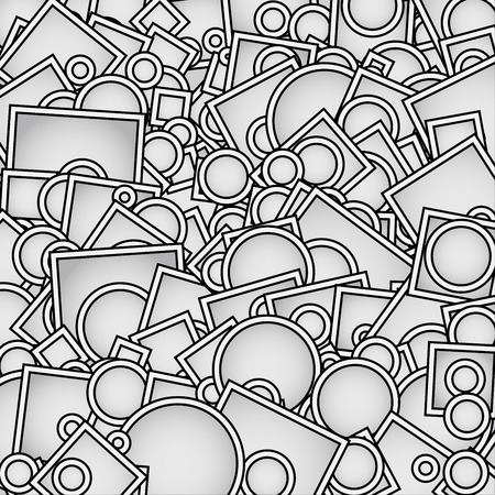 Vector Illustration of Abstract Overlapping Shapes, Random Circles, Squares in Grey. Background Pattern. Illustration