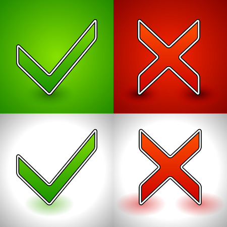 incorrect: Vector Illustration of a Green Check-mark and a Red Cross (X shape). Set for Approve, Reject, Correct, Incorrect, Right, Wrong or Questionnaire, Test Concepts.
