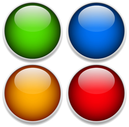 ten empty: Vector illustration of Green, blue, yellow and red glossy spheres with frames