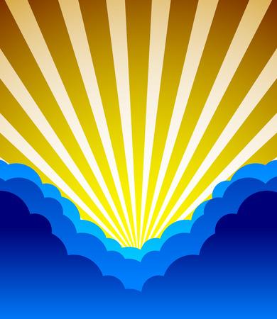 obscure: Ilustraci�n vectorial de nubes oscuras sol. Cielo azul oscuro. Escena de la naturaleza