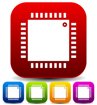 ic: Vector illustration of a simple microchip device, IC, processor icon for repair or rework, technology themes