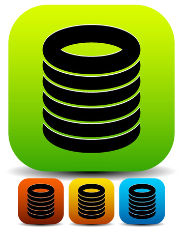 datacentre: vector illustration of Icons with cylinder, cylindrical shapes. Database, backup icon or stacked circular, barrel shapes.