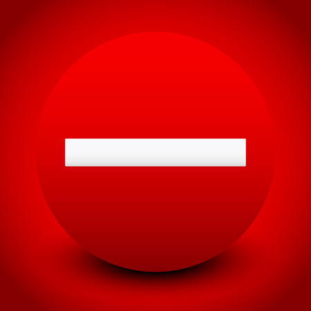 Vector Illustration of a Prohibition sign or Icon over Red background, for Restriction, No Entry, No Entrance concepts or generic Regulation, Banning, Termination, Restraint, Forbidding and Refusal concepts
