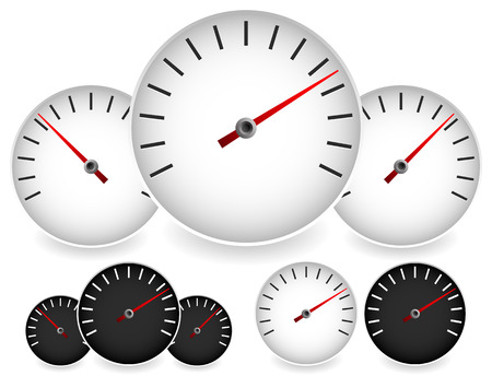 manometer: Dial template in black and white with red needle for gauge, measure, yardstick and benchmarking concepts. Can be used as a manometer, tachometer, barometer or speedometer element