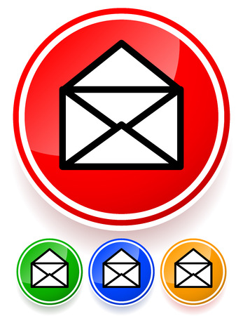 get in touch: Vector illustration of open Mail, envelope icons with shadow.