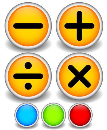 multiplicar: Ilustraci�n del vector de los s�mbolos matem�ticos. Restar, sumar, dividir, suma, se multiplican los signos, marcas.