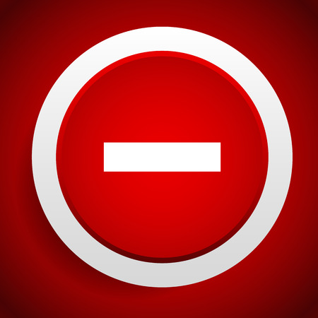 exclude: Vector illustration of a Minus sign or symbol for negative, negativity concepts.