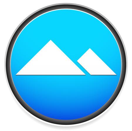 pinnacle: Ilustracji wektorowych z ikoną Alpine z górskiego grzbietu, peek, urwiska symbolem. Z niebieski, jasnoniebieski kolor