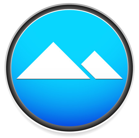 mountain peek: Vector illustration of an Alpine icon with mountain peek, ridge, cliff symbol. With blue, aqua color