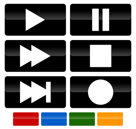 playback: Set of multimedia buttons. Play, pause, fast forward, skip, stop and record buttons