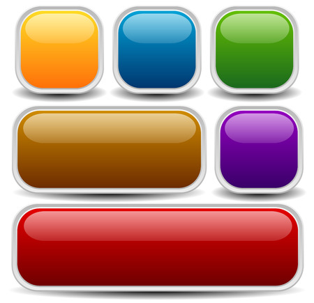 rounded squares: Vector illustration of a set of web or print buttons, banners or bars