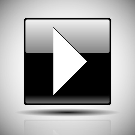 activacion: Vector ilustraci�n de un bot�n de reproducci�n en negro brillante con la reflexi�n y la sombra m�s de blanco Vectores