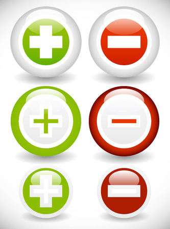 Vector illustration of Plus, minus icon (increase, decrease, raise, lower and add, remove or include, exclude from the plan concepts.)