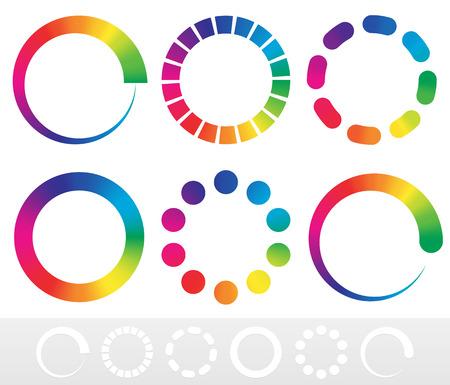 Vector illustration of a set of preloader, buffer shapes or colorwheels