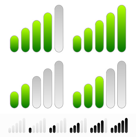 Vector illustration of signal, strength or progress indicators