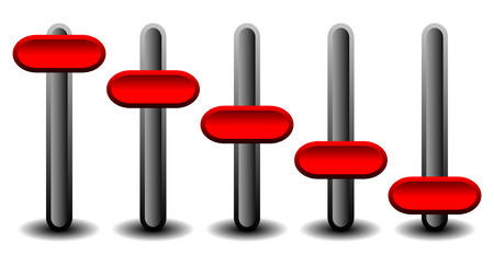 EPS 10 Vector illustration of Vertical sliders, faders with red handles, red levers.