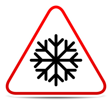 cooled: Vector illustration of a road sign with snowflake symbol. Extreme weather, storm