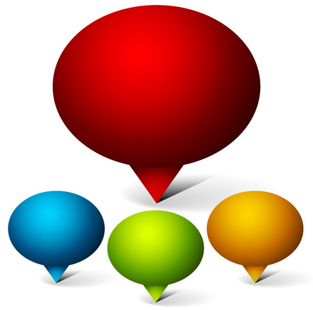 dialog baloon: Vector illustration of a set of oval speech or talk bubbles, balloons or Map, location markers, map pins