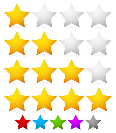 five pointed: Vector illustration of a star rating system with 4 stars.  Illustration