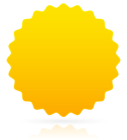 vector illustration of Golden badge / Star burst with reflection and shadow