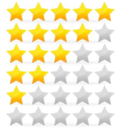 star rating: Illustrazione vettoriale del sistema di stelle con 5 stelle da zero a 5 con profilo bianco sulle stelle Vettoriali