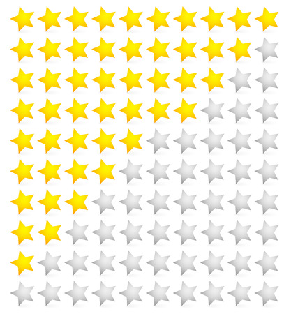 five elements: Vector illustration of star rating system with 10 stars. From zero to 10 (with slanted stars).