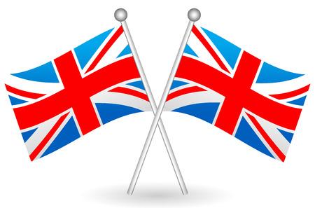 флагшток: Векторная иллюстрация скрещенными флагами Великобритании. Флаг Великобритании вектор