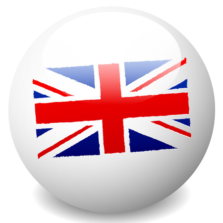 Vector illustration of a Grungy UK, United Kingdom Flag on sphere. UK Flag Icon Vector