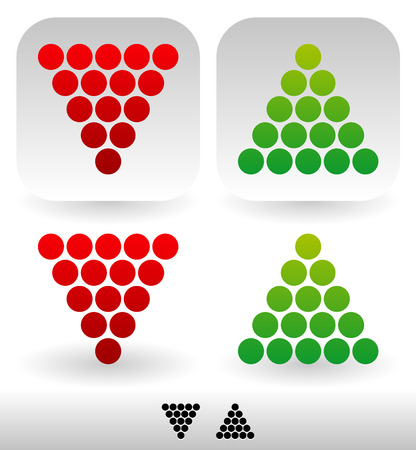 degradation: Vector illustration of Dotted, Up and Down arrows. Isolated, Icon and Silhouette versions