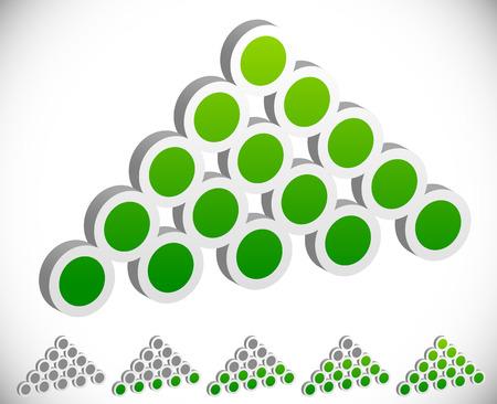 Vector Illustration of Dotted Upward Arrowheads as Progress or Level indicators. Vector