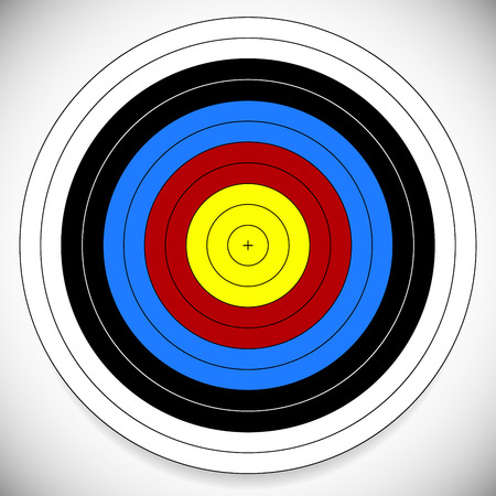 ten empty: Vector Illustration of Printable Archery, Arrow Target with Cross at Center