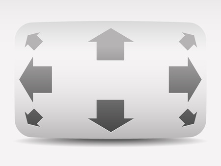 move controller: Vector Illustration of Navigation Button with Vertical, Horizontal and Diagonal Arrows. Gray, minimalistic UI Element