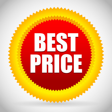 selloff: Vector Illustration of Bright Best Price Badge in red and orange Illustration