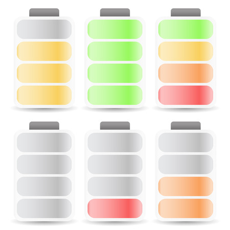 Vector Illustration of Battery Level Indicator Set Color Coded 向量圖像