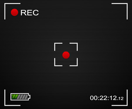 rec: Vector Illustration of Camera background. Camera background and UI elements. Viewfinder, Rec label, battery indicator. Transparent elements.
