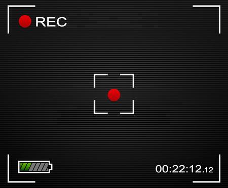 rec: Vector Illustration of Camera background. Camera background and UI elements. Viewfinder, Rec label, battery indicator. Transparent elements.