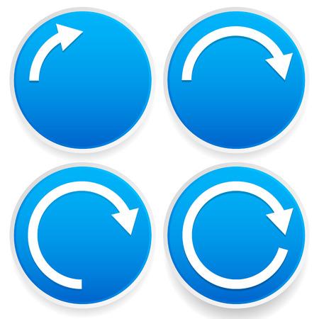 reviser: Illustration Vecteur de fl�ches circulaires, 14, 12, 34 et cercles complets - signes de fl�che bleue.