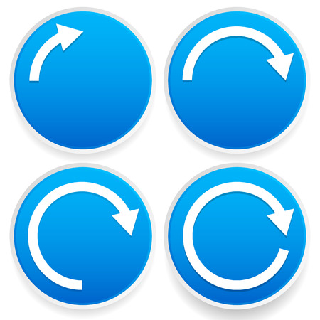 Vector Illustration of Circular arrows, 14, 12, 34 and full circles - Blue arrow signs.