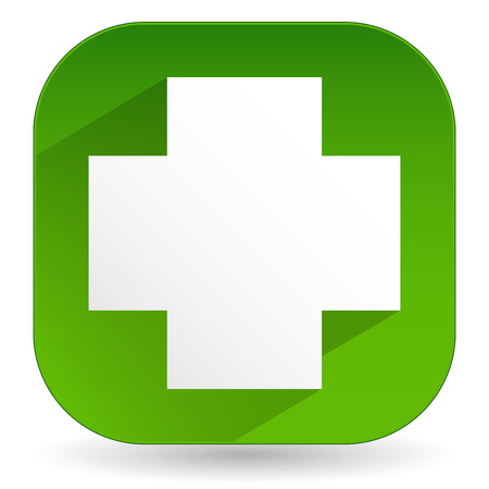 summation: Vector Illustration of Green Cross Icon With Diagonal Shadow - White Cross Over Green