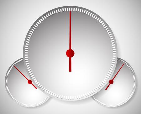 admeasure: Vector Illustration of Dial, Generic Meters, Gauge Templates.