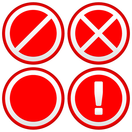 disallow: Vector Illustration of Set of Different Prohibition  Warning Signs, road signs. European no parking, no entry signs and sign with exclamation point