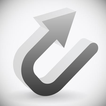 rebound: Eps 10 Vector Illustration of 3d Black U turn  Backward or Return Arrow Illustration