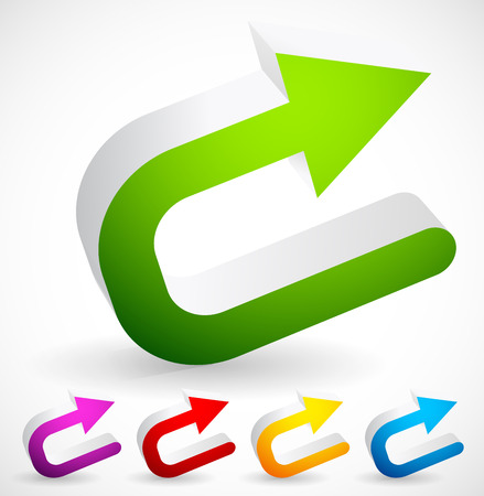 reversal: Vector Illustration of 3D Colorful U turn  Backward or Return Arrows Illustration