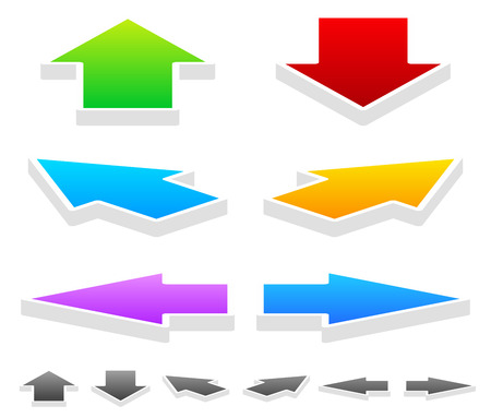 arow: Vector Illustration of Colorful Arrows in Different Directions: 3D Up, Down, Left, Right and Diagonal Arrows Illustration