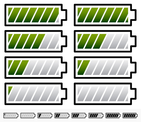 capacitance: Vector Illustration of Battery Level Indicator Symbols  Battery Symbols with Slanted bars Illustration