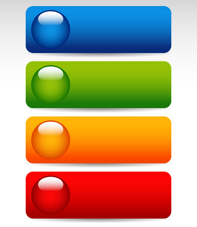 ten empty: Vector Illustration of Big Bright, Colorful Buttons Illustration